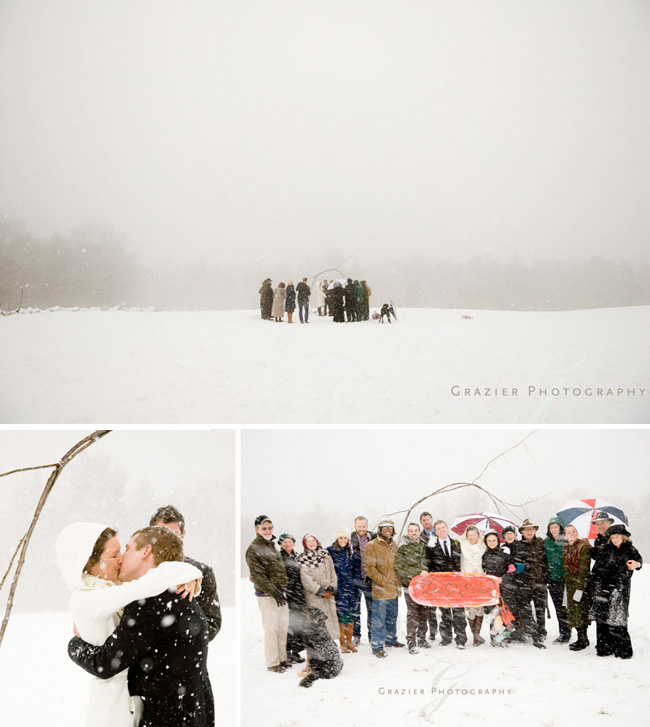 outdoor winter wedding images by Grazier Photography